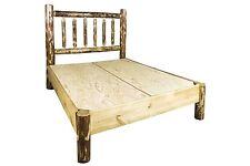 Amish Platform Beds Log Queen Platform Bed Solid Pine Lodge Cabin Furniture