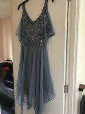 Lipsy Dress Size 14 Blue Silver Seqins Fit And Flare Off Shoulder Bnwt