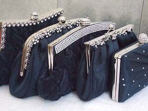 Navy Blue Diamante Crystal Satin Bridal Wedding Prom Purse Clutch Handbag Bag UK
