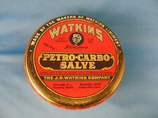 Metal tin Watkins Petro Carbo Salve healing ointment for humans & animals vtg