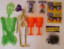 Lot of 7 Halloween Party Items Skeletons Monsters Spiders Jokes Goblets