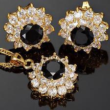Women Gift Black Onyx Flower Round Cut N Pendant Earrings Jewelry Set