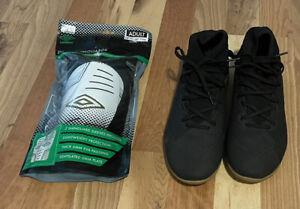 Adidas Nemeziz 19.3 size 8 Indoor Soccer Shoes w Umbro Adult Shin Guards