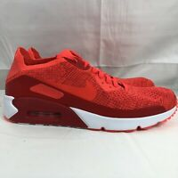 Nike Air Max 90 Ultra 2.0 Flyknit Red Running Shoe 875943-600 Men's Size 11.5