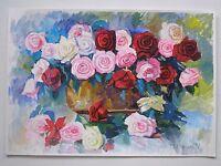 ORIGINAL WATERCOLOR PAINTING ROSES BOUQUET FLOWERS ART BY ARTIST
