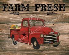Primitive Vintage Old Red Truck Farm Fresh Farmhouse Chippy Wood Sign Print 8x10