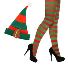 ADULT LADIES SEXY CHRISTMAS ELF FANCY DRESS COSTUME - STRIPEY TIGHTS & HAT COMBO