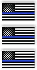 SET OF 3 Thin Blue Line American Police Flag Car MAGNET Magnetic Bumper Sticker
