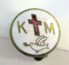 Green Red Brass Logo Badge Award Km Cross Dove Lapel Pin Button Badge