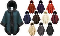 Women Ladies Faux Fur Wool Warm Cape Hooded Luxury Poncho Wrap Jacket Coat 10-18