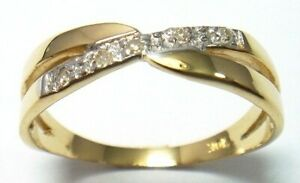 SYJEWELLERY NICE 9CT SOLID YELLOW GOLD 5 NATURAL DIAMONDS RING SIZE N R1379