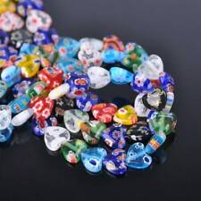 40pcs Mixed 10mm Heart Millefiori Lampwork Glass Loose Beads Lot DIY Jewelry