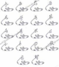 White Gold Finish 925 Silver Disney Ring - Mickey Mouse Lab Diamond Initial Ring