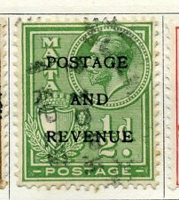 MALTA    1928 early GV Optd. ' POSTAGE & REVENUE' 1/2d. fine used
