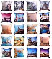 "Luxury Digital Printed City Themed Cushion Covers (18"" x 18"") New York, London"