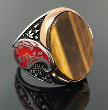 925K Sterling Silver Tiger Eye Stone & Enameled Men's Ring Special Edition K62L