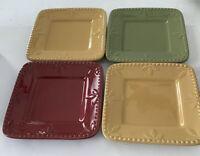 "4 Signature Sorrento Debby Segura Design 2010 6"" X 6"" Plates 1Red 2Gold 1Green"
