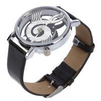 Damen Herren Musik Skelett Uhr Kunstleder Armband Quarz Armbanduhr Schwarz K8K2