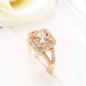 High Quality Rose Gold Plated Natural Morganite White Zircon Ring  Size 6-10
