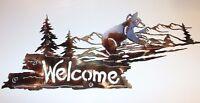 Bear Mountain Welcome Sign Metal Wall Art Decor