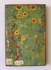 Gustav Klimt Bauerngarten Unikat auf 100 Jahre altem Ziegel 25 Impressionismus