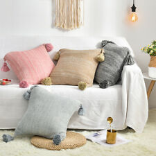 Solid Color Pillow Case Cotton Knitted Throw Sofa Waist Cushion Cover Home Decor