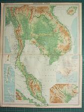 1921 LARGE MAP ~ FARTHER INDIA ~ ANDAMAN NICOBAR ISLANDS SINGAPORE ENVIRONS