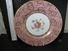 RARE VINTAGE MINTON ENGLAND BROCADE  CABINET PLATE FLORAL AND HEAVY GILT