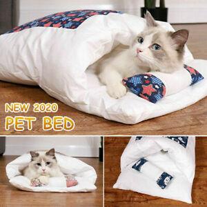 Pet Cat Dog Cave Pad Sleeping Bag Bed Mat Warm Puppy Nest House Soft Cat Mats AU