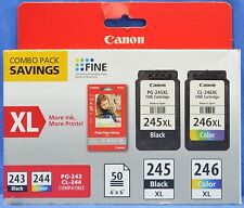 Canon 8278B005 PG-245XL Black & CL-246XL Color Ink w/ GP-601 50 Sheets Combo Pk