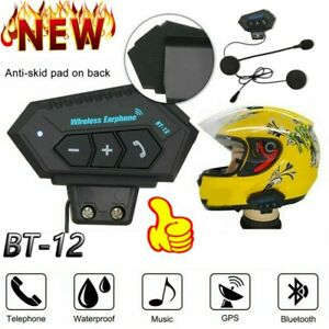 BT-12 Bluetooth Wireless Motorcycle Helmet Headset Intercom Motorbike Headphone