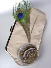 ARTISANAL Beige Satin Flower Bouquet Peacock Feather Clutch Evening Purse Bag