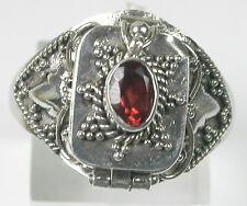 GARNET POISON Pillbox  Ring  Sterling Silver size 5 3/4