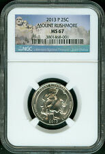 2013-P MOUNT RUSHMORE PARK QUARTER NGC MS67 2ND FINEST