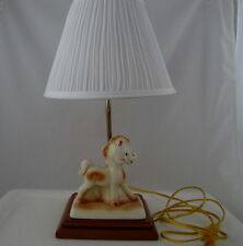 """Child's Table Lamp w Ceramic Pony on Wood Base, 17"""" tall, 6 ft cord"""