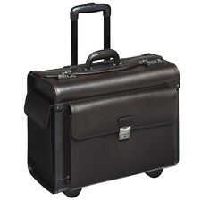 Pilotenkoffer Pilotentrolley Koffer mit Rollen Notebookfach Echt Leder braun  XL
