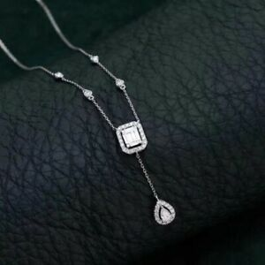 MADE TO ORDER 18k Solid White Gold Natural Diamond Wedding Necklace by Lepos