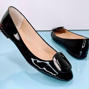 MICHAEL KORS Women's Sz 8.5 Black Patent Leather Ballet Flats Slip On Shoes EUC