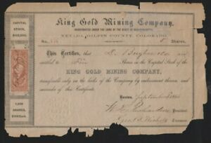 King Gold Mining Company stock certificate #73 for 5 shares, Sept. 3, 1866
