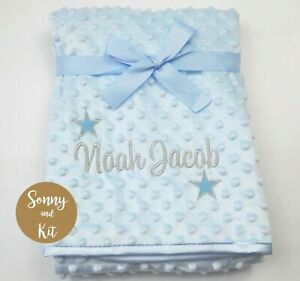 Personalised Baby Boy Name and Stars Wrap Blanket, Embroidered Blue Gift