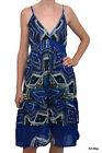 Robe à volant mi-longue Femme PALME - T.S/M - - Bleue Indigo à motifs - NEUF
