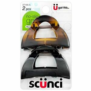 Scunci No-Slip Grip 5.5 cm Jaw Clips, All Day Hold, 2-Count Per Pack (1-Pack ...