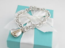 TIFFANY & CO SILVER 18K GOLD HEART AND ARROW CHARM BRACELET BOX INCLUDED