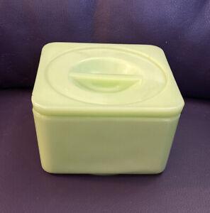 Vintage Jeanette Depression Glass Jadeite Square Covered Refrigerator Dish W/Lid