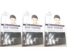 3x Wig Cap Mesh Weaving Breathable Strechable Stocking Hair Liner Unisex Black