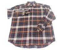 Sir Pendleton Long Sleeve Brown Plaid Shirt 100% Wool Worsted Men's Sz Large EUC