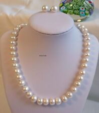 Solid silver genuine oblate 10-11mm freshwater pearl necklace+earrings set white