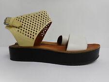 Magnifique Marc Jacobs chaussures sandales plateforme Flats blanc, cuir jaune 37 UK4.5