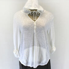 NEW J. Jill Plus Size Linen&Cotton Shirttail Hoodie Sweater White Pockets Top 4X