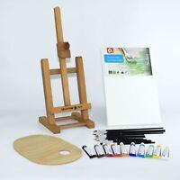 """25pcs Set Wooden 16"""" Easel Acrylic Oil Watercolour Paints Brushes Wooden Palette"""